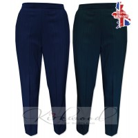 "Ladies Half Elasticated Shadow Stripe Trousers Short length (25"")"
