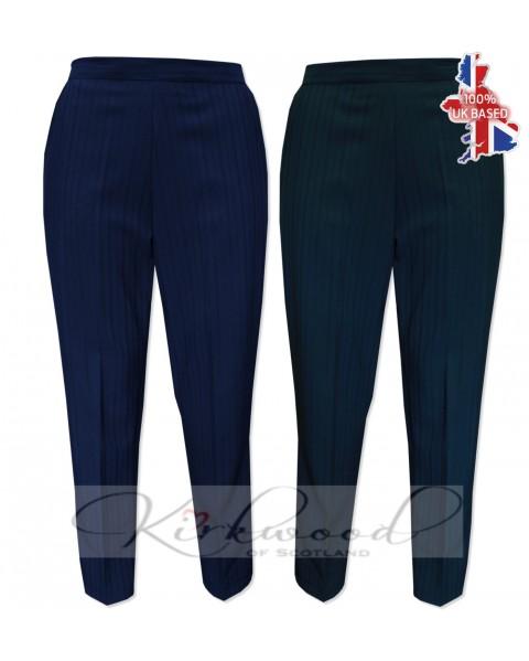 "Ladies Half Elasticated Shadow Stripe Trousers Short length (25"")"