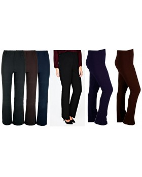 Ladies New Ribbed Black Bootleg Trousers