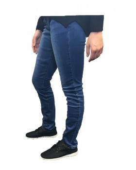 Ladies Denim Straight Leg Jeans Regular Waist Stretchy 01