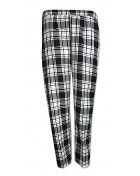 "Black/White Tartan Half Elasticated Trousers 25"" Short Leg"