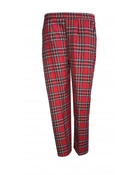 "Red Tartan Half Elasticated Trousers 25"" Short Leg"