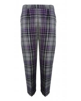 "Purple/Grey Tartan Half Elasticated Trousers 25"" Short Leg"